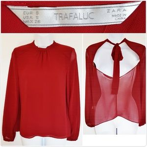 Zara TRF Sheer Red Tie Neck Blouse Small Open back